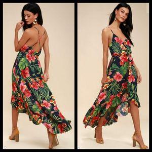Lulus Navy Tropical Pura Vida Dress